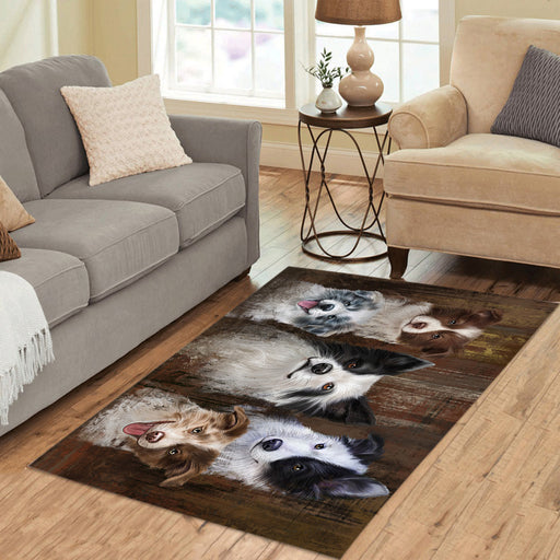 Rustic Border Collie Dogs Area Rug
