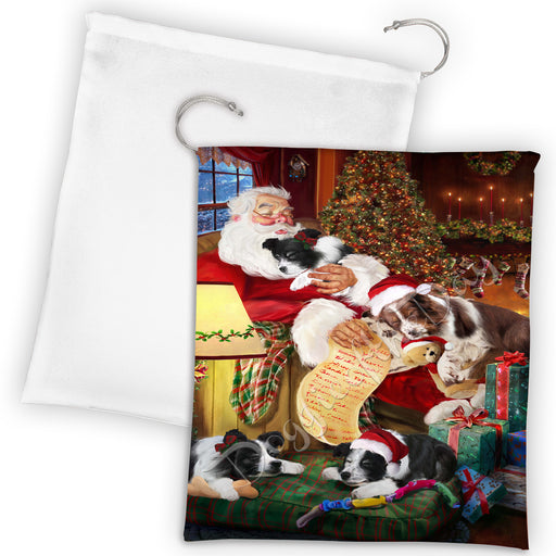 Santa Sleeping with Border Collie Dogs Drawstring Laundry or Gift Bag LGB48785