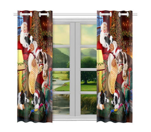 Santa Sleeping with Border Collie Dogs Window Curtain