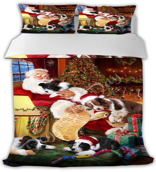Santa Sleeping with Border Collie Dogs Bed Comforter CMFTR49477