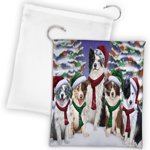 Border Collie Dogs Christmas Family Portrait in Holiday Scenic Background Drawstring Laundry or Gift Bag LGB48122