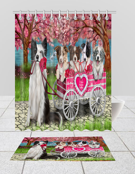 I Love Border Collie Dogs in a Cart Bath Mat and Shower Curtain Combo