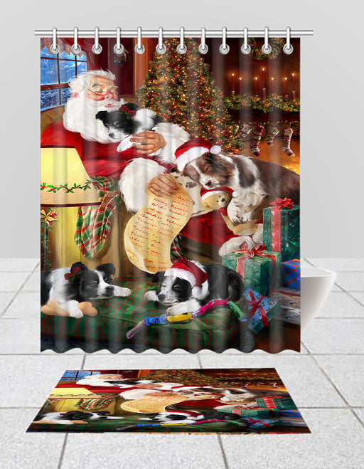 Santa Sleeping with Border Collie Dogs  Bath Mat and Shower Curtain Combo