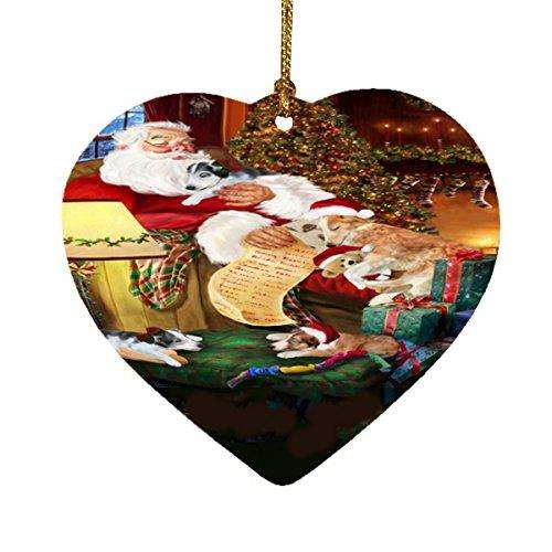 Borzoi Dog and Puppies Sleeping with Santa Heart Christmas Ornament
