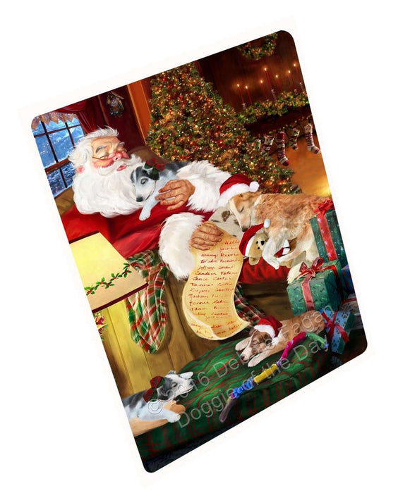 "Borzoi Dog And Puppies Sleeping With Santa Magnet Mini (3.5"" x 2"")"