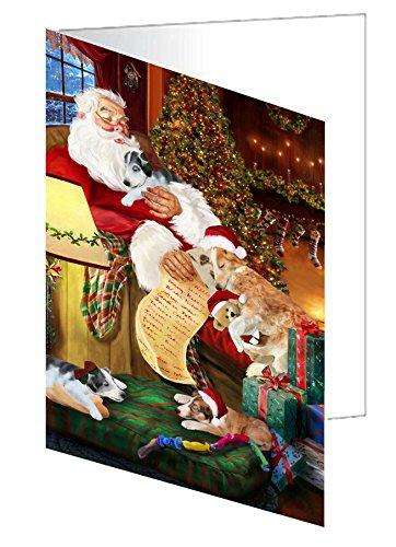 Borzoi Dog and Puppies Sleeping with Santa Note Card