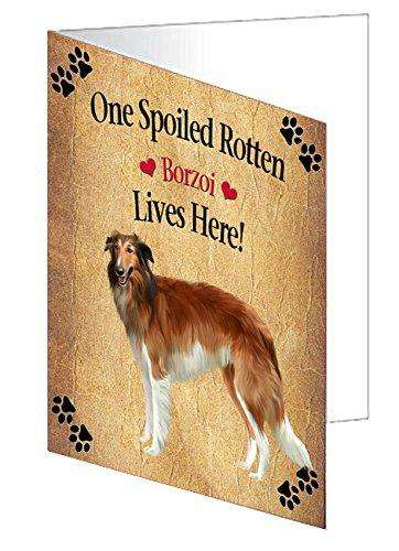 Borzoi Spoiled Rotten Dog Note Card