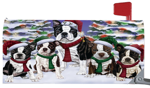 Magnetic Mailbox Cover Boston Terriers Dog Christmas Family Portrait in Holiday Scenic Background MBC48206