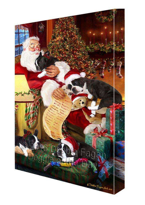 Boston Terrier Dog and Puppies Sleeping with Santa Painting Printed on Canvas Wall Art