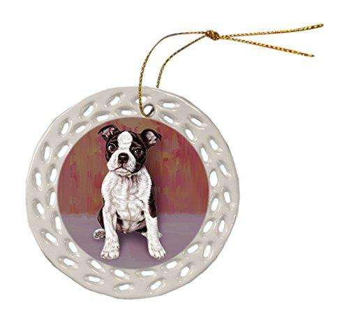 Boston Terrier Dog Christmas Doily Ceramic Ornament
