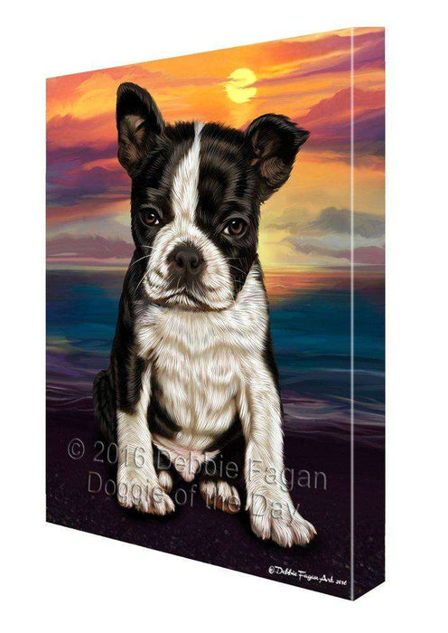 Boston Terrier Dog Painting Printed on Canvas Wall Art