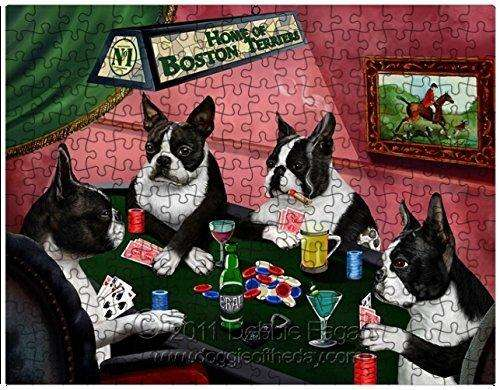 Boston Terrier Dogs Playing Poker 500 Pc. Puzzle with Photo Tin