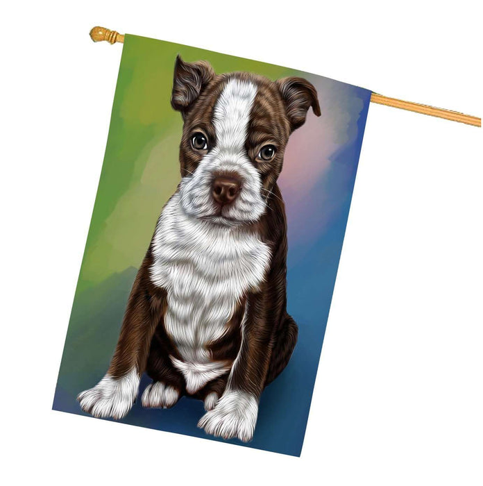 Boston Terrier Puppy Dog House Flag