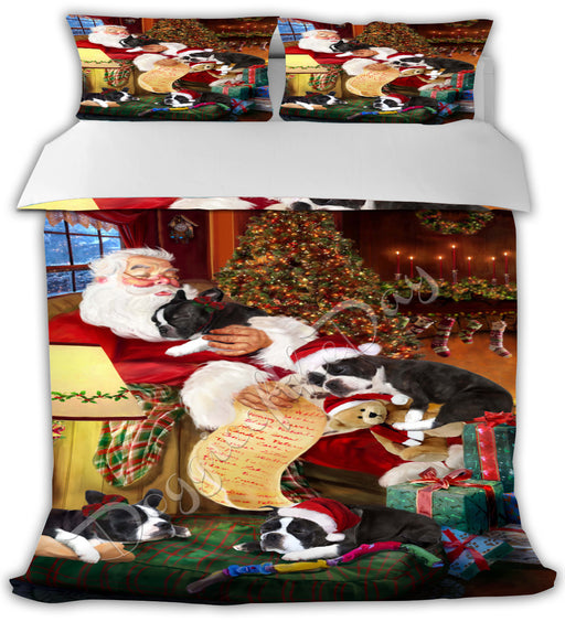 Santa Sleeping with Boston Terrier Dogs Bed Comforter CMFTR49491