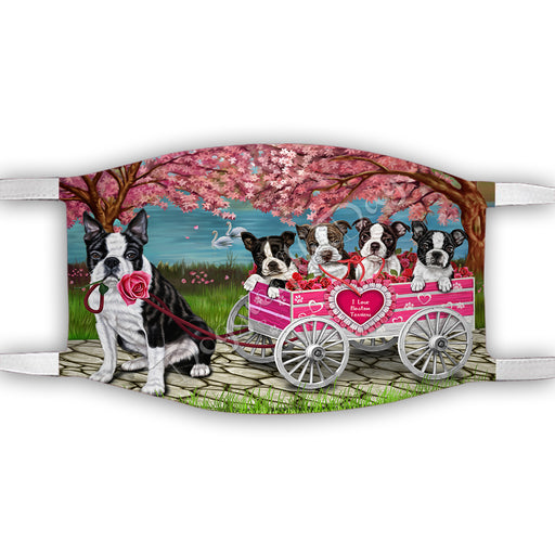 I Love Boston Terrier Dogs in a Cart Face Mask FM48127