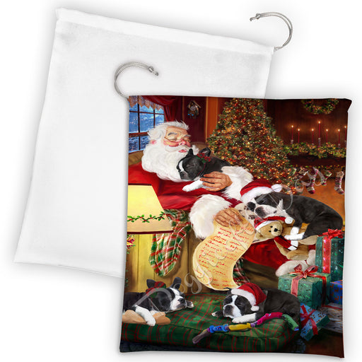 Santa Sleeping with Boston Terrier Dogs Drawstring Laundry or Gift Bag LGB48787