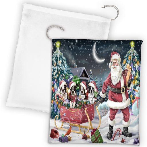 Santa Sled Dogs Christmas Happy Holidays Boston Terrier Dogs Drawstring Laundry or Gift Bag LGB48679