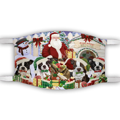 Happy Holidays Christmas Boston Terrier Dogs House Gathering Face Mask FM48228