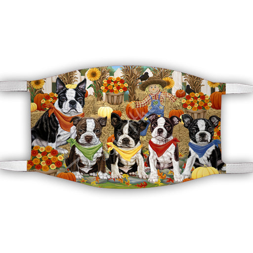 Fall Festive Harvest Time Gathering  Boston Terrier Dogs Face Mask FM48517