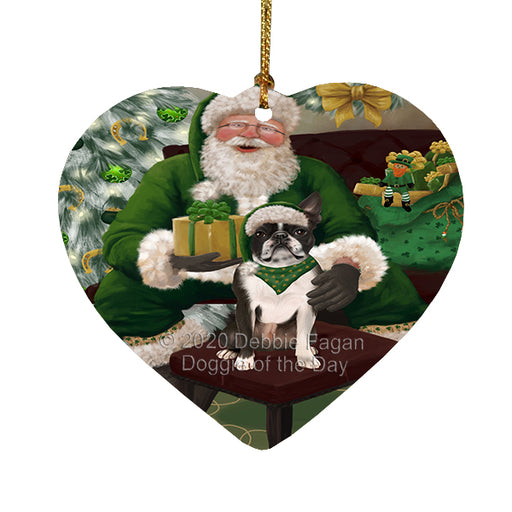 Christmas Irish Santa with Gift and Border Collie Dog Heart Christmas Ornament RFPOR58251
