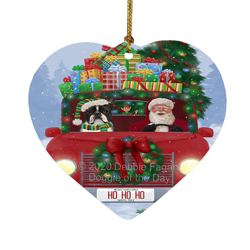 Christmas Honk Honk Red Truck Here Comes with Santa and Boston Terrier Dog Heart Christmas Ornament RFPOR58154