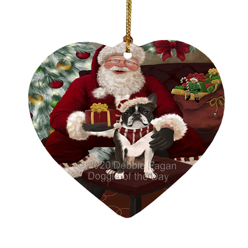 Santa's Christmas Surprise Boston Terrier Dog Heart Christmas Ornament RFPOR58350