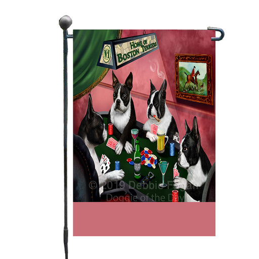 Personalized Home of Boston Terrier Dogs Four Dogs Playing Poker Custom Garden Flags GFLG-DOTD-A60249