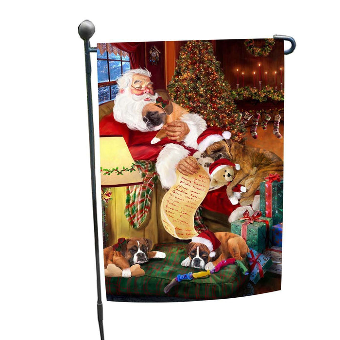 Boxer Dog and Puppies Sleeping with Santa Garden Flag