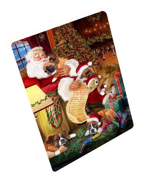 "Boxer Dog And Puppies Sleeping With Santa Magnet Small (5.5"" x 4.25"")"