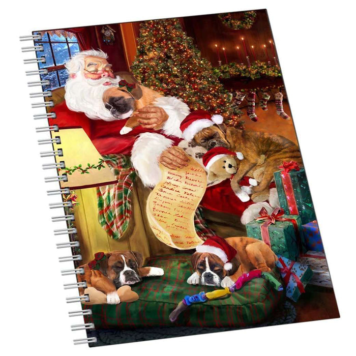 Boxer Dog and Puppies Sleeping with Santa Notebook