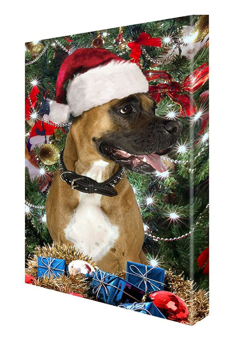 Boxer Dog Christmas Canvas 18 x 24