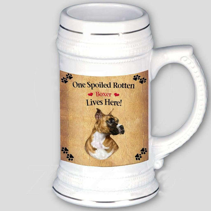Boxer Spoiled Rotten Dog Beer Stein
