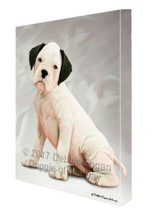 Boxer White Dog Canvas Wall Art