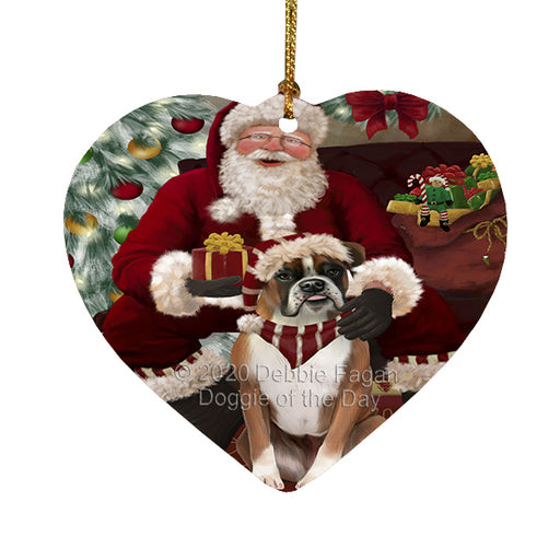 Santa's Christmas Surprise Boxer Dog Heart Christmas Ornament RFPOR58351