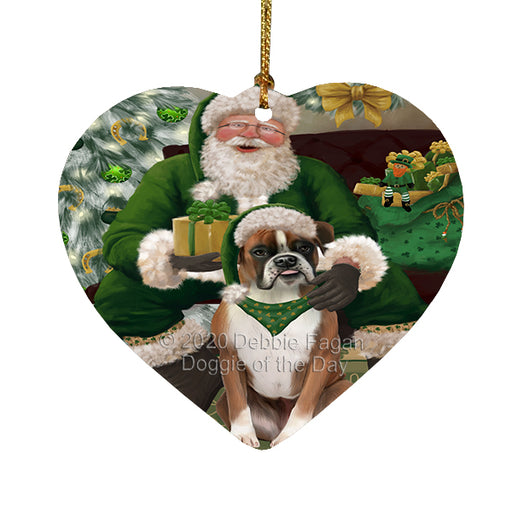 Christmas Irish Santa with Gift and Boston Terrier Dog Heart Christmas Ornament RFPOR58252