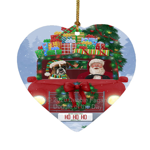 Christmas Honk Honk Red Truck Here Comes with Santa and Boxer Dog Heart Christmas Ornament RFPOR58155