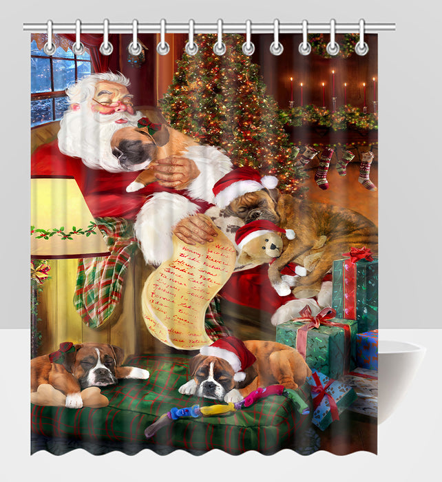Santa Sleeping with Boxer Dogs Shower Curtain