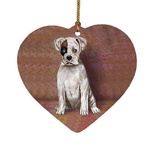 Boxers Puppy Dog Heart Christmas Ornament