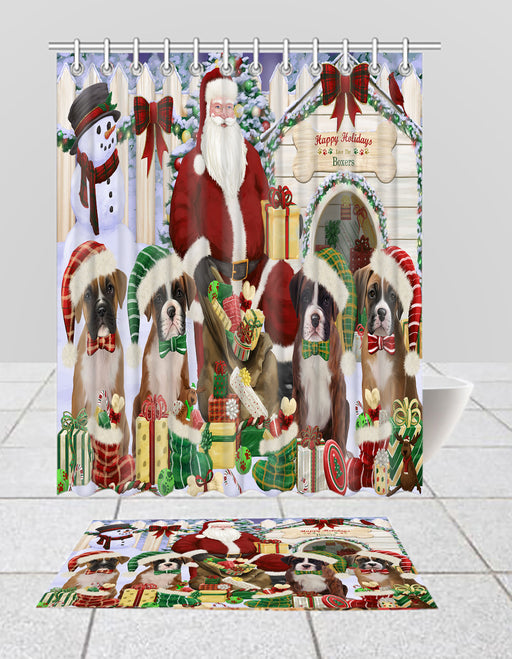 Happy Holidays Christmas Boxer Dogs House Gathering Bath Mat and Shower Curtain Combo