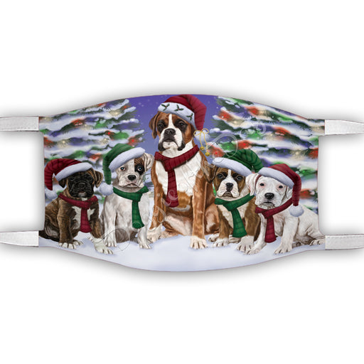 Boxer Dogs Christmas Family Portrait in Holiday Scenic Background Face Mask FM48326