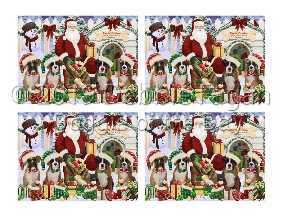 Happy Holidays Christmas Boxer Dogs House Gathering Placemat