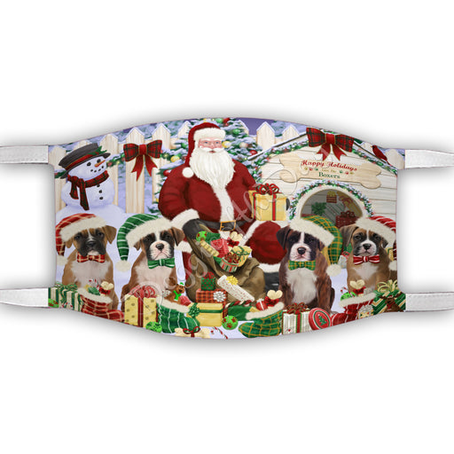 Happy Holidays Christmas Boxer Dogs House Gathering Face Mask FM48229