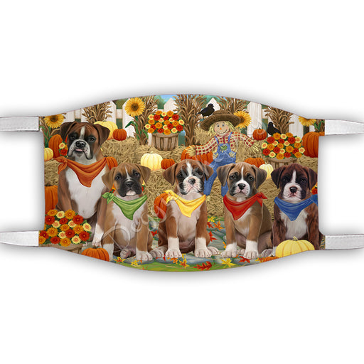 Fall Festive Harvest Time Gathering  Boxer Dogs Face Mask FM48518