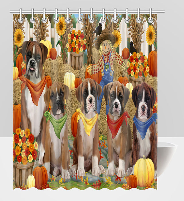 Fall Festive Harvest Time Gathering Boxer Dogs Shower Curtain