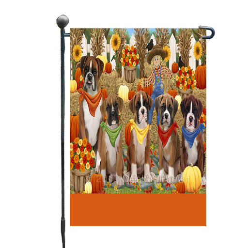 Personalized Fall Festive Gathering Boxer Dogs with Pumpkins Custom Garden Flags GFLG-DOTD-A61838