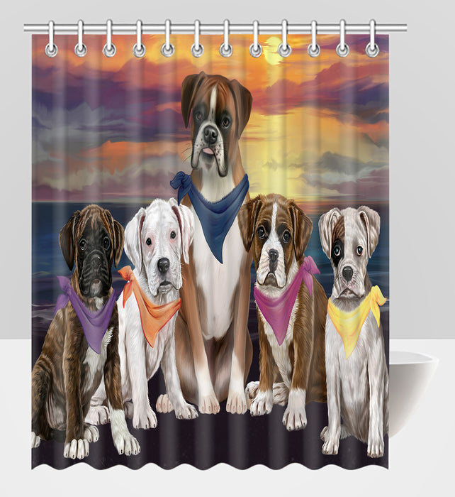 Family Sunset Portrait Boxer Dogs Shower Curtain