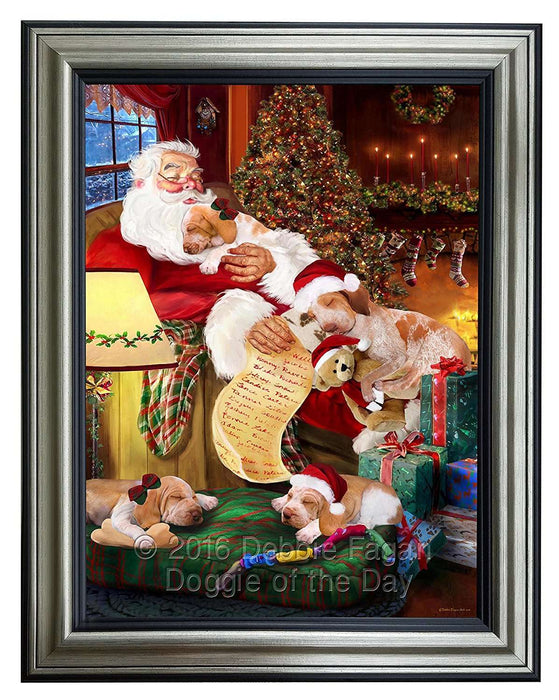 Bracco Italiano Dog and Puppies Sleeping with Santa Framed Canvas Print Wall Art