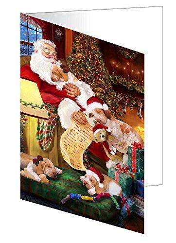 Bracco Italiano Dog and Puppies Sleeping with Santa Greeting Card
