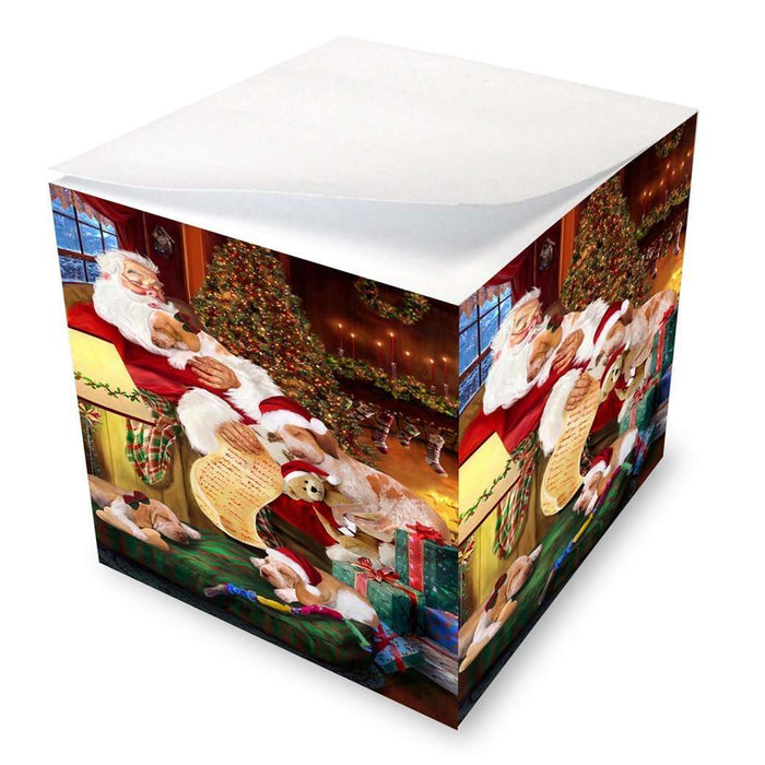 Bracco Italiano Dog and Puppies Sleeping with Santa Note Cube