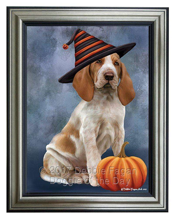 Braco Italiano Dog Wearing Witch Hat with Pumpkin Framed Canvas Print Wall Art
